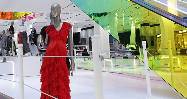 In this Feb. 20, 2019, file photo a mannequin wears a red dress inside the Saks Fifth Avenue's flagship midtown Manhattan store in New York. A group of shareholders of Saks Fifth Avenue's parent is making an offer to take the struggling department store chain private. (AP file photo)
