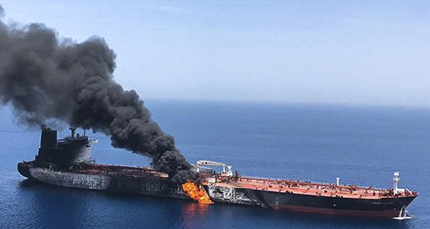 In this June 13, photo, an oil tanker is on fire in the sea of Oman. A series of attacks on oil tankers near the Persian Gulf has raised fears over the safety of one of Asia's most vital energy trade routes, where about a fifth of the world's oil passes through its narrowest at the Strait of Hormuz. (AP file photo)