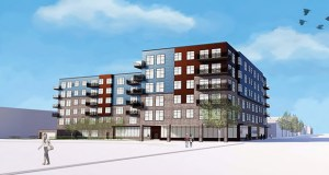 Pinnacle Management LLC is proposing this 112-unit apartment building on the southeast corner of Bryant and Broadway avenues in north Minneapolis. (Submitted image: LSE Architects)