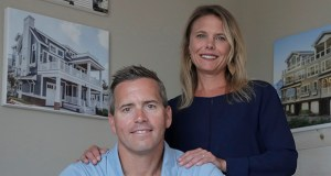 In this Wednesday, June 5, 2019, photo, Chris Carr, left, president of McLaughlin Construction Management, poses for a photo with his wife, Kristy Carr, in their office in Sea Isle City, New Jersey. When Kristy's father, Jim McLaughlin, died suddenly from a heart attack at age 64, his family assumed they would have to close his homebuilding business. But as McLaughlin s son-in-law, Chris, started to wind down the Sea Isle City, New Jersey, company five years ago, he realized he should try to run it. (AP Photo: Julio Cortez)