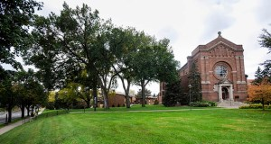 The University of St. Thomas is working with Opus and Ryan Cos. on two new residence halls that will flank the Chapel of St. Thomas Aquinas on Cleveland Avenue, south of Selby Avenue in St. Paul. (File photo: Craig Lassig)