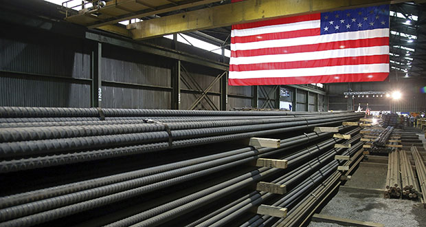 In this May 9, 2019, photo, steel rods produced at the Gerdau Ameristeel mill in St. Paul await shipment.  (AP file photo)