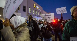 Demonstrators protest at the Amazon fulfillment center Dec. 14, 2018, in Shakopee. Workers at the fulfillment center plan a six-hour work stoppage July 15, the first day of Amazon's Prime Day. (Bloomberg file photo)
