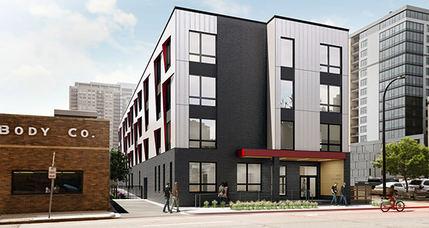 House of Charity is preparing to move dirt for this 61-unit affordable housing building at 615 S. Seventh St. in downtown Minneapolis. (Submitted rendering: UrbanWorks)
