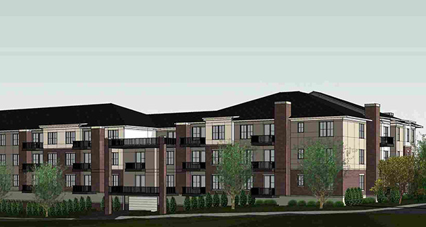 A 58-unit, market-rate apartment building at 14317 Excelsior Blvd. that Ron Clark Construction is planning would rise on a site just north of Glen Lake in Minnetonka. (Submitted illustration: Whitten Associates)