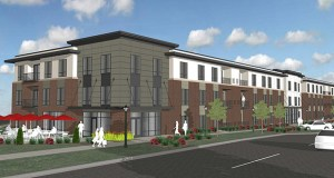 Developer Jim Winkels is planning this 88-unit market-rate apartment building on the former North St. Paul City Hall property at the southwest corner of Seventh Street and Margaret Avenue. (Submitted rendering)
