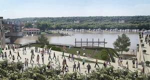 "Ramsey County hopes to get $40 million in 2020 state bonding money for this planned ""land lid"" connecting the Mississippi River with downtown St. Paul at Kellogg Boulevard. (Submitted image: AECOM)"