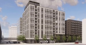 Sherman Associates now plans to build about 190 apartments at 517 Sixth St. S. in downtown Minneapolis. The building would look similar to this rendering of the company's previous proposal for the site. (Submitted illustration: Sherman Associates)