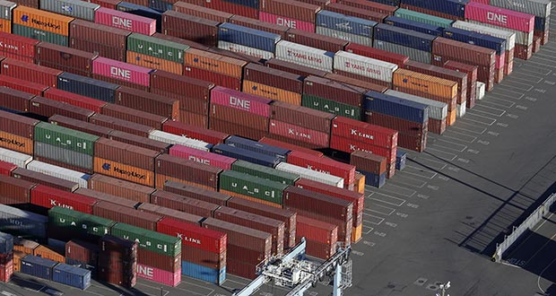 In this March 5 photo, cargo containers are staged near cranes at the Port of Tacoma, in Tacoma, Washington. (AP file photo)