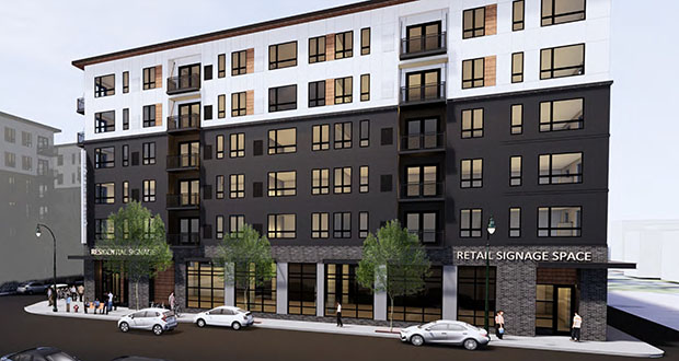 Minneapolis-based Lupe Development Partners is starting construction on the 111-unit first phase of Lake Avenue Dwelling, a 314-unit apartment complex at 410 and 510 W. Lake St. in Minneapolis. (Submitted rendering)