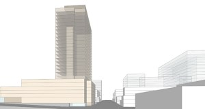 Chicago-based CA Ventures is proposing to build an apartment tower as high as 25 stories on the site of a McDonald's restaurant at 407 15th St. SE in Minneapolis' Dinkytown area. (Submitted illustration: CA Ventures)