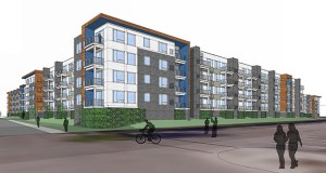Doran Cos. wants to build two apartment buildings with 464 units at 3800 Silver Lake Road in St. Anthony, replacing a Walmart building developed by Doran founder Kelly Doran in 2004. (Submitted image: Doran Cos.)