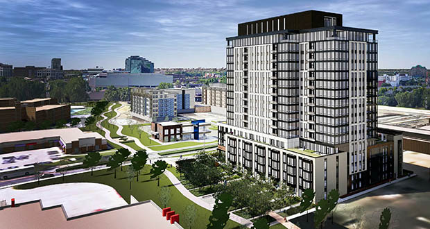 Developer Tom Lund shortened the proposed Edina Promenade Residences at 3650 Hazelton Road by one floor and added 18 more units to help the project secure financing. (Submitted image: ESG)