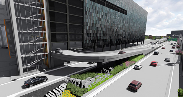 With the new 5,000-stall Silver Ramp scheduled to open next year at Minneapolis-St. Paul International Airport, Bloomington is pushing the owners of several longtime remote parking sites in the city's South Loop to make plans to redevelop the properties. (Submitted image: Miller Dunwiddie)