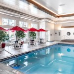 An indoor pool supplements one outdoors at The Reserve, allowing tenants to swim year round. (Submitted photo: Doran Cos.)