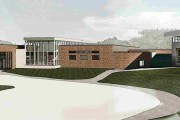 The city of Minnetonka hopes to seek new construction bids this fall for this $30 million public safety facilities project. The project would rise on the city's campus at 14600 Minnetonka Blvd. (Submitted rendering: Wold)