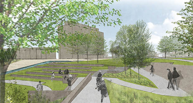 The city of St. Paul has started work on this Midway Peace Park project at 416 Griggs St. N. in St. Paul. (Submitted rendering)