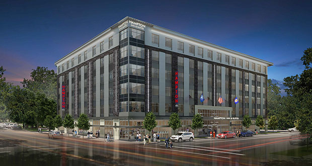 North Rock Real Estate is planning a Hampton by Hilton hotel at the corner of Second Street and Fifth Avenue Northwest in Rochester. The company will soon break ground on a Homeplace by Hilton hotel in the same neighborhood. (Submitted image: GBA Architecture)