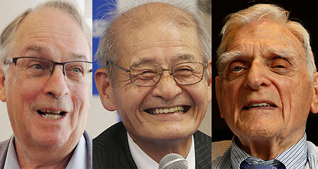 The 2019 Nobel Prize in Chemistry has been awarded to M. Stanley Whittingham, left, Akira Yoshino, center, and John B. Goodenough for the development of lithium-ion batteries. (AP photos)