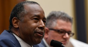 Housing and Urban Development Secretary Ben Carson, left, testifies before the House Financial Services Committee hearing on Capitol Hill in Washington, Tuesday, Oct. 22, 2019, on housing finance plans. (AP Photo/Susan Walsh)