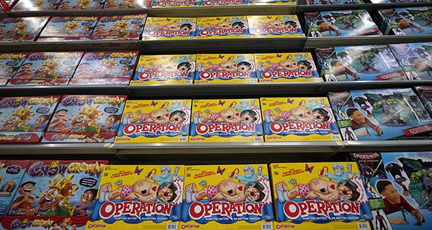 In this Nov. 9, 2018, file photo Operation made by Hasbro is displayed shelves in the expanded toy section at a Walmart Supercenter in Houston.(AP Photo/David J. Phillip, File)