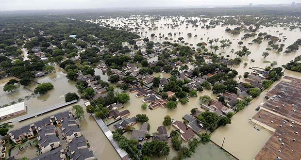 This Aug. 29, 2017, photo shows a neighborhood near Addicks Reservoir that was flooded by rain from Tropical Storm Harvey in Houston. (AP file photo)