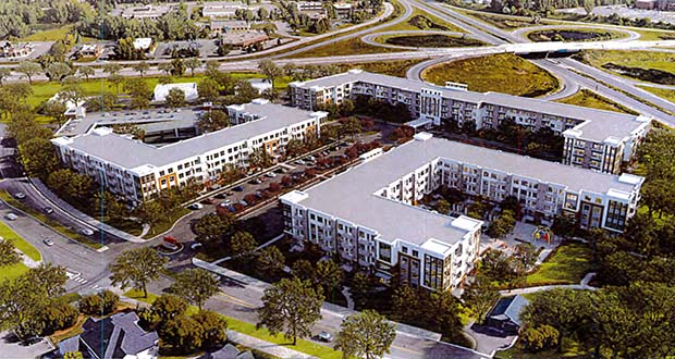 Dominium recently downsized its planned apartment project at 4108 Lancaster Lane N. in Plymouth from 430 units to 418, reducing the height of two buildings and increasing the height of the third. (Submitted illustration: Dominium)