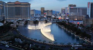 In this April 4, 2017, photo, the fountains of Bellagio erupt along the Las Vegas Strip in Las Vegas. MGM Resorts International announced the sale Tuesday of two casinos that will significantly alter its portfolio of Las Vegas Strip properties and offer up cash. (AP file photo)