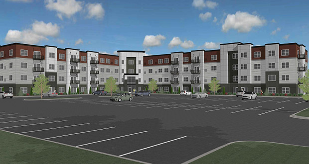 Excelsior-based Oppidan is planning to build this 153-unit apartment building on a former golf course in West St. Paul. The project is scheduled to begin construction in the spring, pending city approvals. (Submitted image: Amcon)
