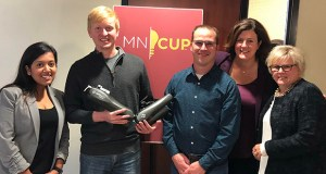 Abilitech Medical is one of 28 finalists in this year's MN Cup entrepreneurial competition, a program of the University of Minnesota's Carlson School of Management. Pictured, from left, are Shawna Persaud, clinical and project manager; Eli Krumholz, director of software engineering; Mark Oreschnick, vice president for research and development; Angie Conley, founder and CEO; and Lisa Ramme Latterell, contract marketing officer. (Submitted photo)