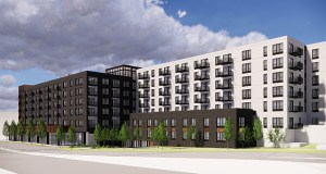 The apartment building that LMC is proposing to build at 1936 Lyndale Ave. S. will present a darker, brick face to the intersection, emulating the exteriors of a number of older buildings in the neighborhood. (Submitted illustration: ESG Architects)