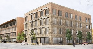 Winona-based Fastenal has traded its trademark royal blue for a new downtown office using brick, stone and other materials that complement the historic area along the Mississippi River. (Submitted image: The Kubala Washatko Architects, Inc.)