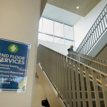 Stairway to the second floor of Dorothy Day Place. (Photo: Bill Klotz/Special to Finance & Commerce)