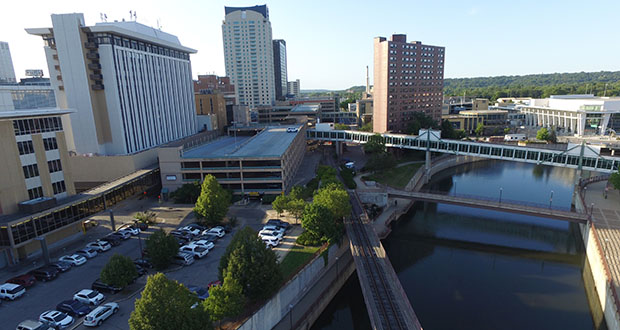 Rochester officials are seeking developer pitches for a 2.2-acre city-owned site on the west bank of the Zumbro River, currently occupied by an aging parking garage, a parking lot and a restaurant building. (Submitted photo: City of Rochester)