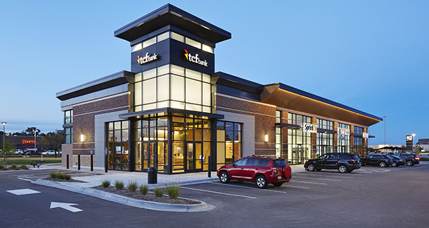 Minneapolis real estate investor Ken Sherman has paid $6.1 for this new TCF bank and retail building at 1805 Plymouth Road in Minnetonka, at the west entrance to Ridgedale Center. (Submitted photo: RSP Architects)