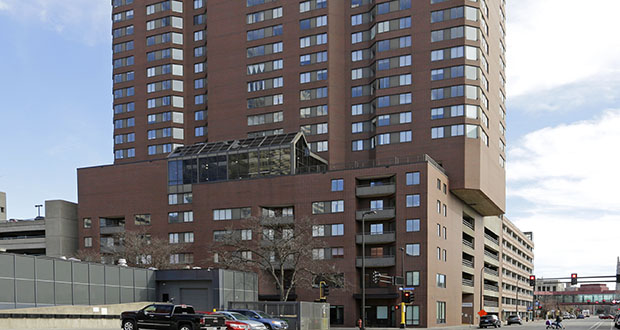 The Bolero Flats apartments at 1117 S. Marquette Ave. in Minneapolis received extensive updates from the property's former owner, including the relocation of its lobby from the skyway level to the ground floor. (Submitted photo: CoStar)