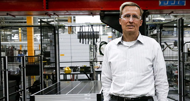 The sheer breadth of the shifting winds that have buffeted SunPower and repeatedly forced CEO Tom Werner to rethink strategy and the company's supply chain sheds light on the toll of the trade war. (Bloomberg photo: Moriah Ratner)