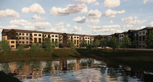 Apartments planned for an 8-acre site in the southwest quadrant of Diffley and Nichols roads in Eagan would back up to Cedar Avenue and would face an existing townhome community. (Submitted illustration: Kaas Wilson Architects)