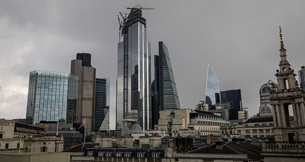 Skyscrapers stand in the City of London on April 13. (Bloomberg file photo)