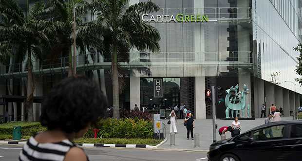 CaptaLand is selling business parks in Singapore and in San Diego, Raleigh and Portland, Oregon. This Jan. 24 photo shows the front of CapitaLand's CapitaGreen in the business district in Singapore. (Bloomberg file photo)