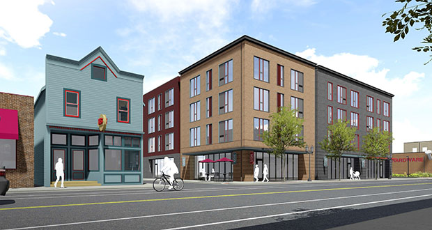 Minneapolis-based Shaffer Richardson is planning to build a 99-unit mixed-use apartment building at 848 Payne Ave. in a St. Paul opportunity zone. The rooftop will carry a 130 kilowatt solar array. (Submitted image: UrbanWorks Architecture)