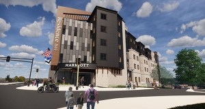 Bloomington-based Kaeding Development Group wants to build this 102-room hotel at 3400 University Ave. in Minneapolis' Prospect Park neighborhood, across the street from a light rail station. (Submitted image: Momentum Design Group)