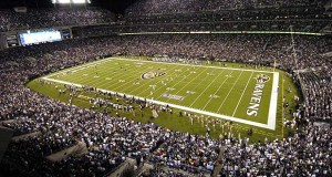 There are well over a dozen NFL venues nestled in so-called opportunity zones. They include M&T Bank Stadium in Baltimore, home of the National Football League's Ravens, which this year completed $120 million in upgrades such as a new sound system. (Bloomberg News photo)
