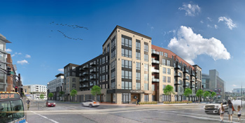 St. Paul's long-awaited Seven Corners Gateway project began construction this fall, with a 144-room apartment building and a 120-room hotel sharing the property across from Xcel Energy Center. (Submitted image: Tushie Montgomery)