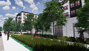 "Ryan Cos. US Inc. is revising its plans for a 5.7-acre property on the corner of France Ave. and 70th Street in Edina, currently in Edina. An initial proposal included 200 mixed-income apartment units and several commercial buildings separated by an ""interior promenade"" public space. (Submitted image: RSP)"