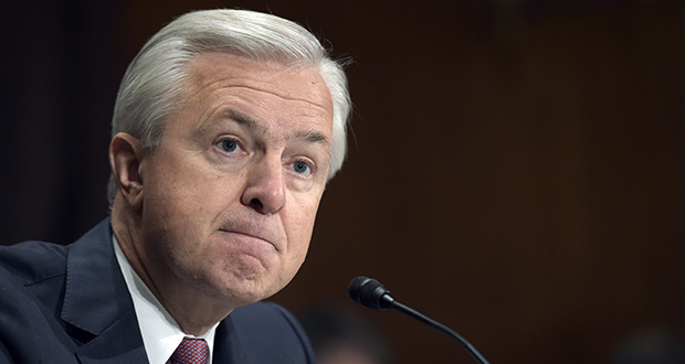 In this Sept. 20, 2016, file photo, former Wells Fargo CEO John Stumpf testifies on Capitol Hill in Washington, before the Senate Banking Committee. (AP Photo/Susan Walsh, File)