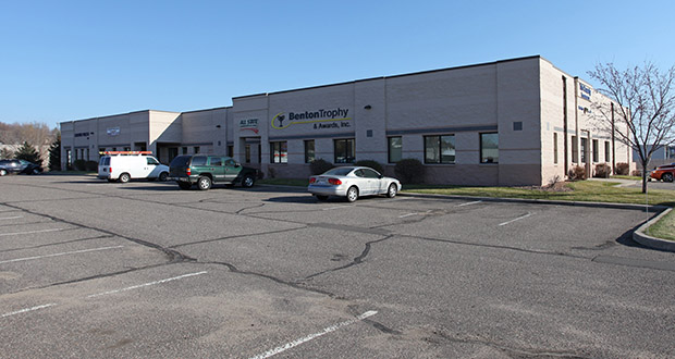 Investment entities from Edina and Hopkins have paid $8.1 million for a portfolio of flex buildings in the Benton Business Park in Sauk Rapids, including this 30,464-square-foot multitenant building at 800 Industrial Drive S. (Submitted photo: CoStar)