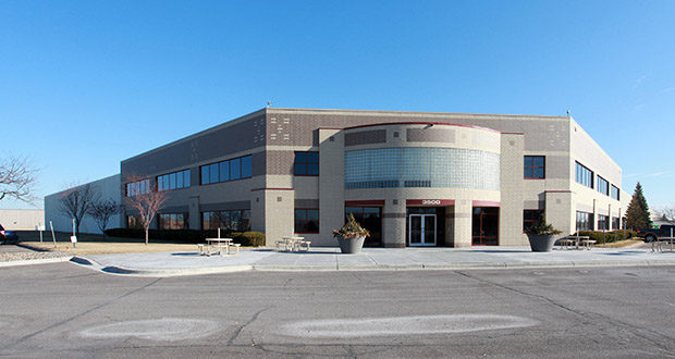 The 334,988-square-foot, Anoka Corporate Center at 3500 Thurston Ave. in Anoka, home to DecoPac since 2006, sold as the most expensive industrial building in the Twin Cities in 2019 that was not part of a Minnesota portfolio. (Submitted photo: CoStar)