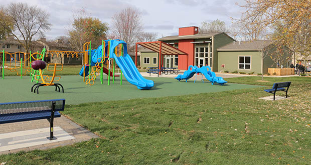 In addition to drainage work and landscaping, the Unity Place renovation project included a new playground for residents. (Submitted photo: CHDC)