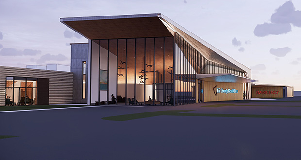 Tri-County Health Care paid $1.35 million for the 76-acre site of its future 120,000-square-foot hospital in Wadena. (Submitted rendering)